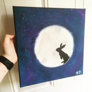 this was for a friend who's papa always told her that bunnies live on the moon.